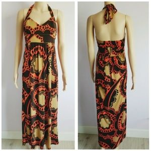 City Triangles Maxi Flora Halterl Dress Size Large